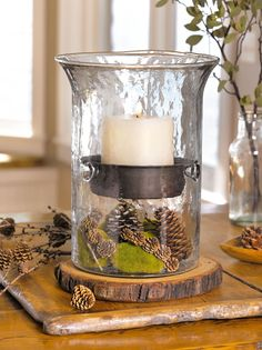 Hurricane Lantern for Pillar Candle with Display Area in Base | Gardeners.com