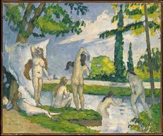 This is one of Cézanne's first paintings of bathers, a subject that engaged him for the rest of his career. Although fascinated by the nude human figure, the artist worked slowly and was uncomfortable with female models, so he derived such scenes from his imagination and his rich knowledge of classical and Renaissance art