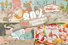 4in1 Christmas Bundle Clip Art and Illustrations on Creative Market. Digital design goods for personal or commercial projects. Graphic design elements and resources.