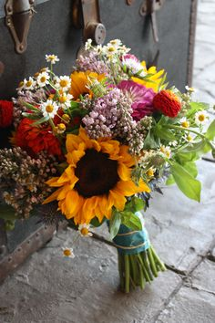 Lopez/Wombacher #sunflower wedding #wildflower wedding Wildflower & Sunflower Bouquet with Daisies, Cornflower, Zinnias. Perfect for any season.