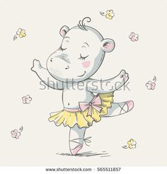 Cute baby hippo ballerina dancing cartoon hand drawn vector illustration. Can be used for baby t-shirt print, fashion print design, kids wear, baby shower celebration greeting and invitation card.