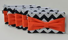 Bridesmaid Gift Set of 6 Chevron Bow Clutch Choose your colors. $106.00, via Etsy.