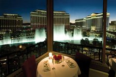One of two corner tables at the Eiffel Tower Restaurant, Las Vegas, Nevada - This restaurant is pricey, but very romantic!