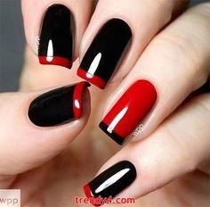 All girls like beautiful nails. The first thing we notice is nails. Therefore, we need to take good care of the reasons for nails. We always remember the person with the incredible nails. Instead, we don't care about the worst nails. Love Nails, How To Do Nails, Pretty Nails, Style Nails, Red Black Nails, Red Nails, Polish Nails, Dark Nails, Matte Black