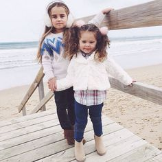 Keeping cosy at the beach in head to toe Pumpkin Patch! Bella wears our fluffy earmuffs, fairisle sparkle sweater, coated jeans and moccasins. Gisele wears our pom pom hair ties, faux fur jacket, flannel shirt, knee panel jeggings and glitter ankle boots ⭐️ RG @ kidsfashionblogger #pumpkinpatchkids #kidsfashion #winterstyle #kidsfashionblogger