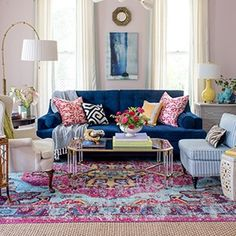 Living Room Decoration and Design Ideas - Ribbons & Stars Living Room Decor Eclectic, Colourful Living Room, Living Room Designs, Bedroom Decor, Blue And Pink Living Room, Blue Couch Living Room, Bohemian Living, Boho Living Room, Home And Living
