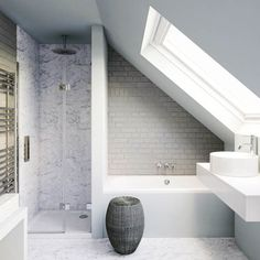 Small bathroom in need of clever tricks? - - Browse our small bathroom design ideas. Attic Shower, Small Attic Bathroom, Loft Bathroom, Bathroom Design Small, Bathroom Mirrors, Bathroom Faucets, Industrial Bathroom, Loft Ensuite, Bathroom Designs