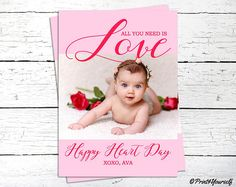 Valentine Photo Greeting Card // Personalized Printable Happy