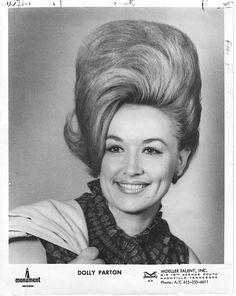 Dolly Parton with exceptionally tall hair, circa 1960s