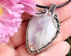 Wire wrapped pendant Copper jewelry Dendrite by LacyLoveWireWrap