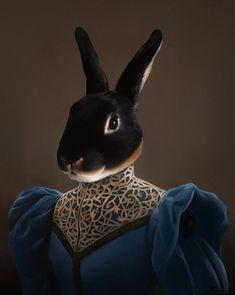 Bunny Painting, Large Painting, Renaissance Portraits, Décor Antique, Rabbit Art, Rex Rabbit, Pet Costumes, Fauna, Surreal Art