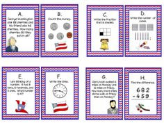 Patriotic Task Cards for 2nd grade math----great math center for second grade--FREE math center--word problems, fractions, telling time, addition and subtraction with regrouping, expanded form, and counting money