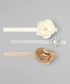 This Ivory & Beige Flower Headband Set by Charlotte Rose Couture is perfect! #zulilyfinds