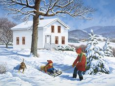 """""""Way to Go (Xmas Version)"""" by John Sloane Christmas Paintings, Christmas Art, Winter Painting, Country Art, Winter Scenes, Christmas Pictures, Winter Time, American Artists, Belle Photo"""