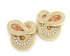 Bridal earrings soutache earrings clip on earrings от SaboDesign Bridesmaid Earrings, Bridal Earrings, Clip On Earrings, Bridesmaid Gifts, Soutache Necklace, Birthday Gift For Wife, Embroidery Techniques, Gifts For Wife, Wholesale Jewelry