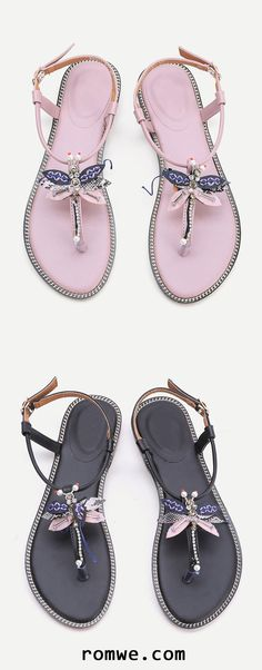 Dragonfly Detail Toe Post Flat Sandals