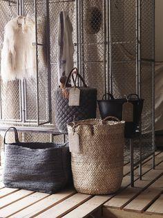 Mural crochet unité de stockage avec osier paniers Cintre Maison Couloir