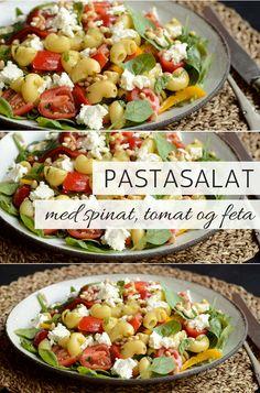 Fuldstændig fænomenal pastasalat med en lækker blanding af grøn spinat, dejlige tomater og cremet feta. Low Carb Recipes, Cobb Salad, Feta, Salads, Health, Victoria, Spinach, Low Carb, Health Care