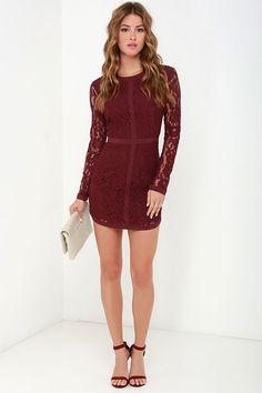Sweet as Sugar Burgundy Long Sleeve Lace Dress at Lulus.com!