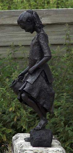 Bronze Garden Or Yard #sculpture by #sculptor Robert Mileham titled: 'Mary a Poorhouse Waif (Bronze Childhood Sculptures /statues)' #art