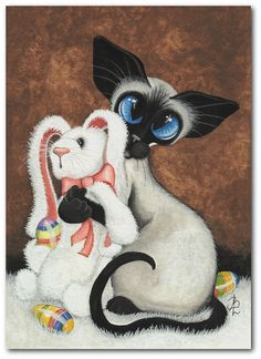 Siamese Cat Easter Bunny Hug Painted Eggs Pet ArT  by AmyLynBihrle