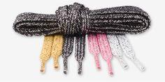"Metallic Lurex Flat Shoe Laces pop and shine, Style: Metallic Flat laces, 3/8"" (9.5 mm) wide. 1 Pair (2 laces) 45"" 114 cm long. More information at: http://www.shoestringking.com/dp/B00AFCUGJI"