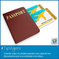25a2299bc Tips de Viaje · Hacer una copia de tu pasaporte y otros documentos puede  salvar de alguna emergencia. #
