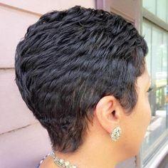 Short Choppy Black Pixie - The Right Hair Styles Curly Pixie Haircuts, Short Black Hairstyles, Pixie Hairstyles, Hairstyles With Bangs, Braided Hairstyles, Layered Hairstyle, Everyday Hairstyles, Ladies Hairstyles, Hairstyles 2016