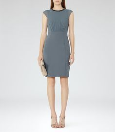 REISS - SERRE EMBELLISHED-NECKLINE DRESS
