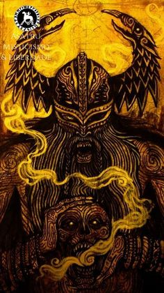 """Mimir (Old Norse """"The Rememberer) was killed and beheaded by the Vanir during the Aesir-Vanir War. Upon seeing the severed head, Odin embalmed it with special herbs and chanted magical songs over it to preserve it. He consulted Art Viking, Viking Symbols, Viking Warrior, Viking Woman, Viking Runes, Norse Pagan, Old Norse, Norse Mythology, Norse Tattoo"""