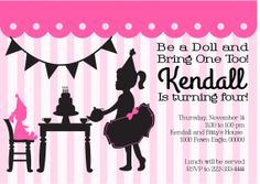 Baby Doll Tea Party Invite Birthday Girls Princess