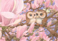 Amour chouettes 8.5x11 signé Illustration impression par brownieman