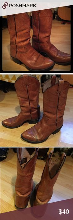 🔥Leather Tony Lama Cowboy Boots-Luggage Color🔥 Size 8.5 E (men's) camel colored genuine leather boots which fit a woman's 9.5/10- 10.5 Unisex. I really love these but I'm only an 8 8.5 tops in boots and they are just too big on me (unfortunately.) Priced low due to one small mark as shown in pics. You can't really tell while wearing and doesn't affect their cuteness or their high quality! Tony Lama Shoes