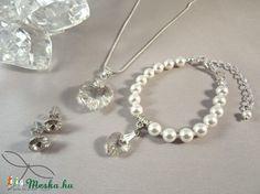 Meska - Swarovski szett esküvőre - kristály Edina09 kézművestől Pearl Necklace, Pearls, Jewelry, Fashion, Moda, String Of Pearls, Bijoux, Jewlery
