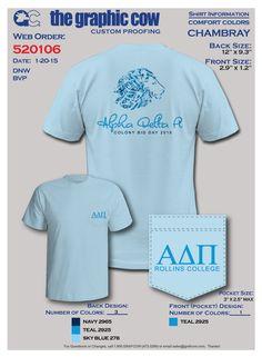 ADPi Rollins Colony Bid Day t-shirt.