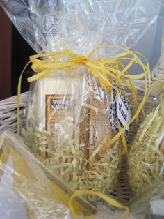 Cost Plus World Market Honey Hand Soap and Lotion were wrapped together in cellophane as the winning recipient gifts for a Bumble Bee themed Baby Shower.