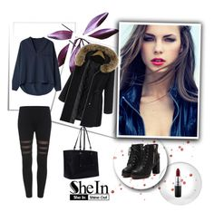"""""""Black Skinny Leggings"""" by nermina-okanovic ❤ liked on Polyvore featuring MAC Cosmetics, women's clothing, women's fashion, women, female, woman, misses, juniors and shein"""