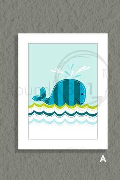 Whale Print  Ocean Theme Print   Whale Fishes & by Prints321