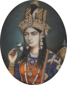 Portrait of Mumtaz Mahal (Arjumand Banu Begum). She was the favourite wife of the Mughal Emperor Shah Jahan. Mughal Paintings, Indian Paintings, History Of India, Women In History, Family History, Taj Mahal, Empire Moghol, Mughal Jewelry, Jewellery