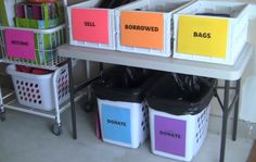 These boxes are actually great for organization in general. How to Have a Successful Garage Sale - Lifehack Garage Sale Organization, Garage Sale Tips, Organization Hacks, Organizing Ideas, Garage Sale Pricing, Organising, Household Organization, Garage Ideas, Selling On Craigslist