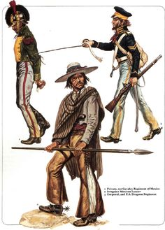 The Mexican Cavalry officer and the US Dragoon look awesome. Mexican Army, Mexican American War, American Civil War, American History, Military Units, Military Art, Military History, Military Uniforms, Mexican Revolution