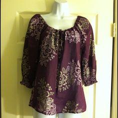 Women's purple top Women's Ann Taylor Loft 3/4 sleeve top, loose fit, dark purple/light purple/gray in great condition no holes or marks, 100% cotton size XS Ann Taylor Loft Tops Blouses