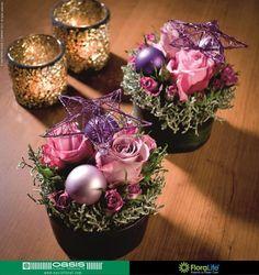 Christmas Flower Design using an OASIS® Table Design Viva Deco Floral, Floral Foam, Arte Floral, Floral Design, Christmas Flowers, Pink Christmas, Christmas Colors, Christmas Holidays, Decoration Table