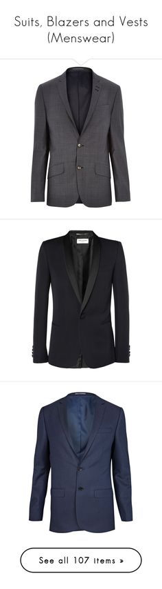 """Suits, Blazers and Vests (Menswear)"" by giovanna1995 ❤ liked on Polyvore featuring blazer, suit, menswear, pants, men's fashion, men's clothing, men's outerwear, men's jackets, sale and mens slim fit jackets"