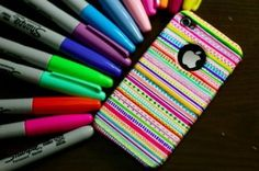 Told ya Sharpies are great! DIY: Tribal print iPhone case - made with sharpies and time Sharpie Phone Cases, Cute Phone Cases, Sharpie Projects, Sharpie Crafts, Diy Projects, Sharpie Designs, Coque Iphone, Iphone 4, Iphone Cases