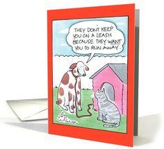 Cat Leash Humor card (994573)