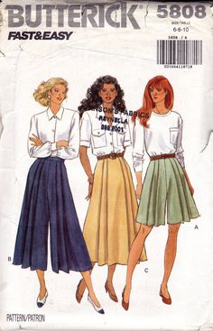 90s Womens Skirt & Pleated Culottes Pattern Butterick 5808 Size 6 8 10 Bust 30 1/2 31 1/2 32 1/2 inches UNCUT Factory Folded