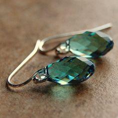 South Paw Studios Handcrafted Designer Jewelry - Light sage green Swarovski crystal earrings