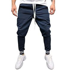 Men Elastic Waist 3//4 Pants Drawstring Cool Dry Running Sports Shorts Jogger Training Summer Trousers by Hunzed