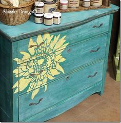 A DIY painted and stenciled teal dresser using the Chrysanthemum Grande Flower Stencil. http://www.cuttingedgestencils.com/flower-stencil-4.html